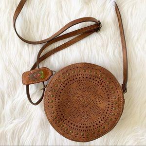 Costa Rica Leather Circle Round Crossbody Bag